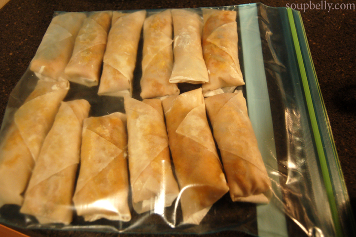 Spring rolls – freezing and storage.