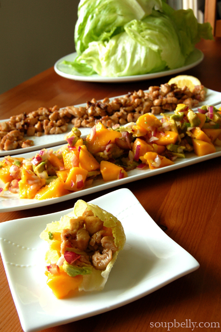 Lettuce wraps – with diced chicken, mango/avocado salsa (serves 2 to ...