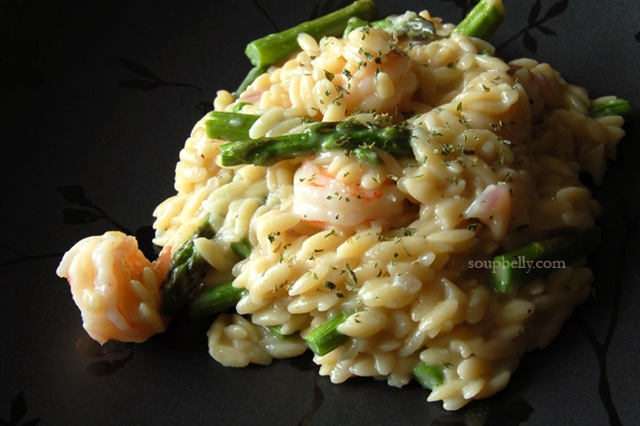 Mock Risotto with Shrimp and Roasted Asparagus | Soupbelly