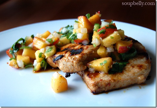 Grilled Lime Chipotle Pork Chops with Nectarine Salsa.
