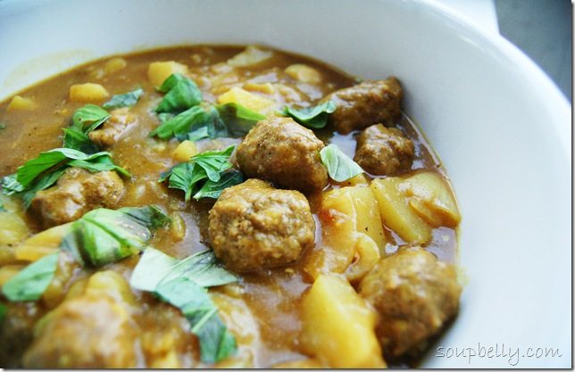 Curried Meatballs and Potatoes